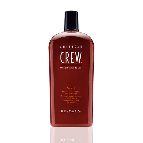 American Crew 3 en 1, champú, acondicionador y gel de baño
