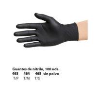 Guantes nitrilo negros sin polvo tres tallas